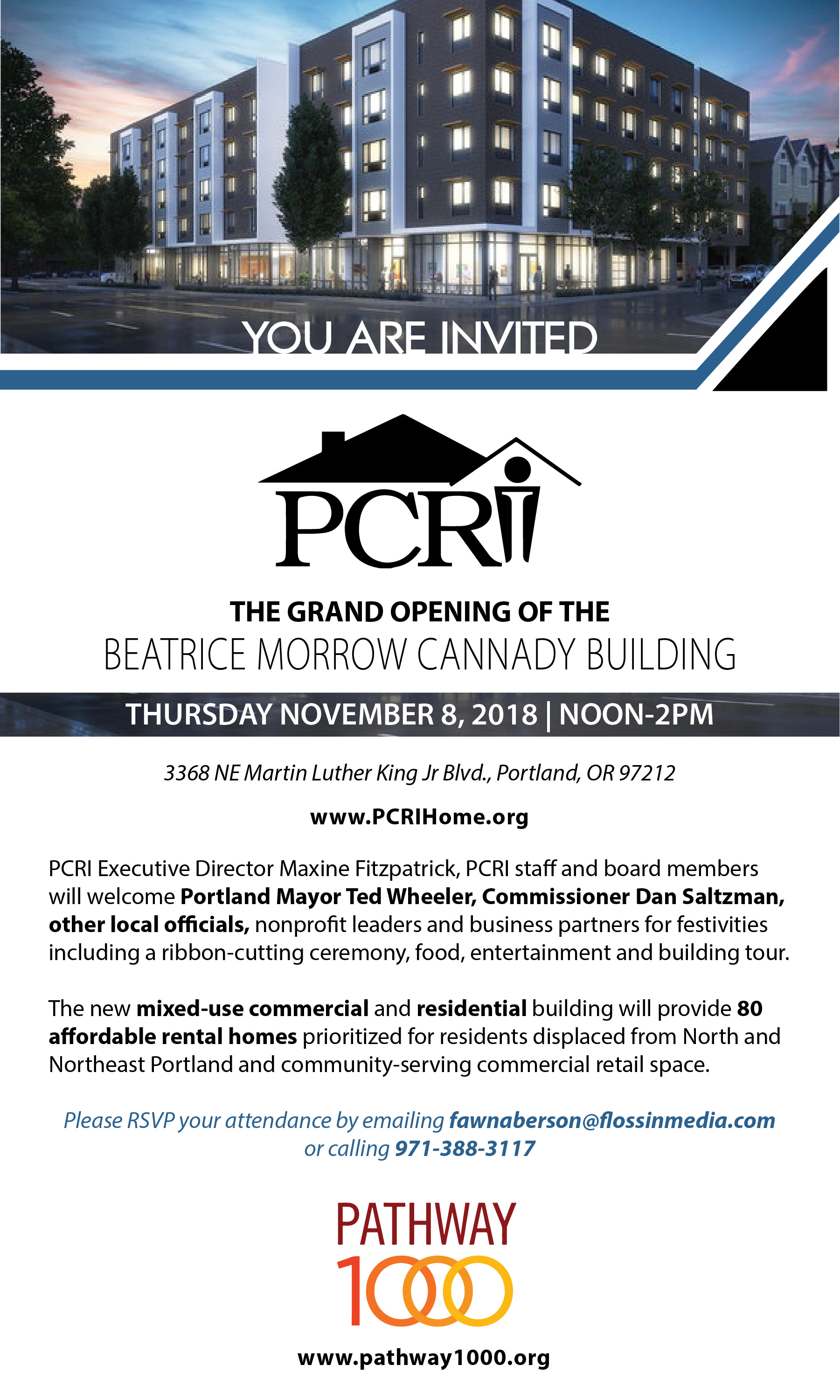 pcri invites partners and community members to the beatrice morrow cannady building for a grand opening celebration on november 8 from noon to 200 pm